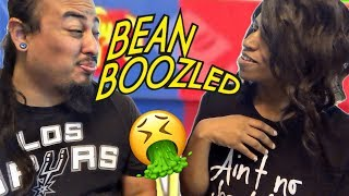 BEAN BOOZLED CHALLENGE! (HUSBAND GETS CRAMPS - WIFE CHOKES ON DOG FOOD)