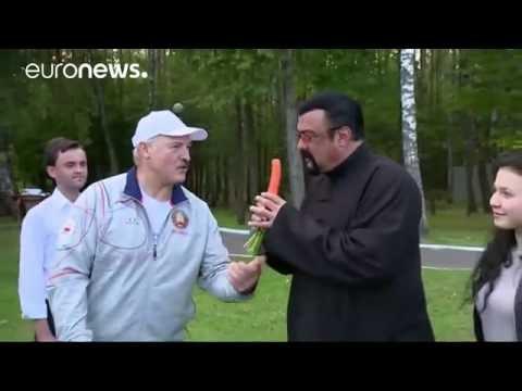 Steven Seagal given carrots & watermelon in Belarus