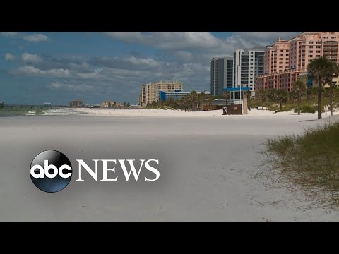 Popular tourist area in Clearwater Beach, Florida, is nearly