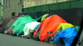 Kelowna BC 2019 -  Homeless Addicts Living in Tents on Sidewalks -  At What Cost