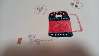 예전에 그렸던 타코야끼 그림과 방금 그린 코코아 고양이…