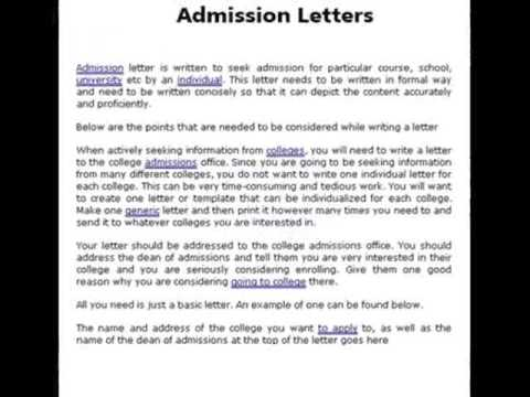 examples of admission letter sample