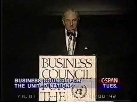 David Rockefeller speaks about population control.