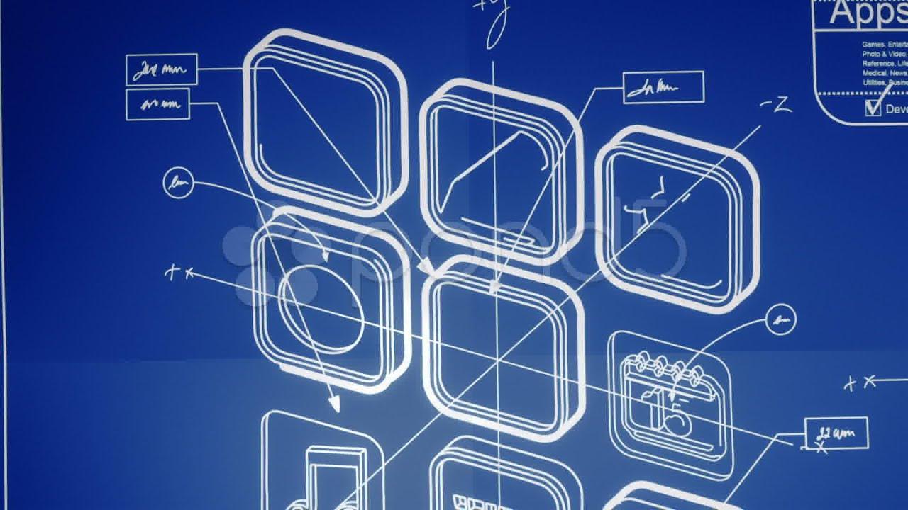 Mobile app development blueprint concept stock footage for App for blueprints