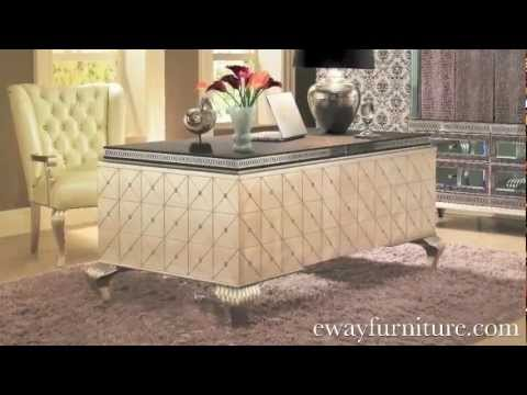 AICO Michael Amini Hollywood Swank Crystal Caviar Desk Home Office  Collection. EWay Furniture