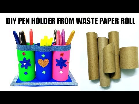 DIY PEN AND PENCIL HOLDER FROM WASTE KITCHEN AND TOILET PAPER ROLLS | FLY IN CRAFT |