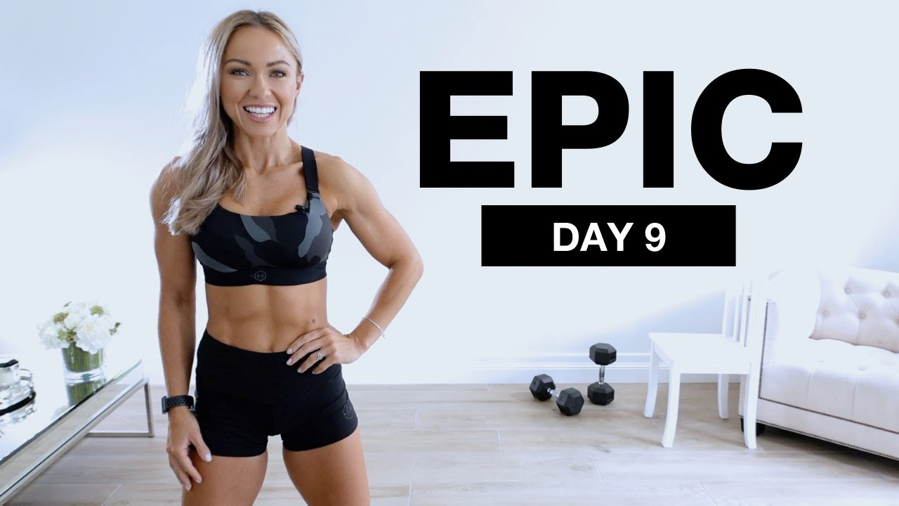 Day 9 of EPIC   Full Body Workout with Dumbbells   1 hour No Repeat
