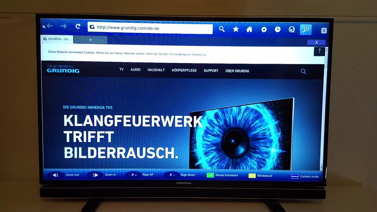 smart tv web browser im echtzeit test grundig 43 gfb 6621. Black Bedroom Furniture Sets. Home Design Ideas