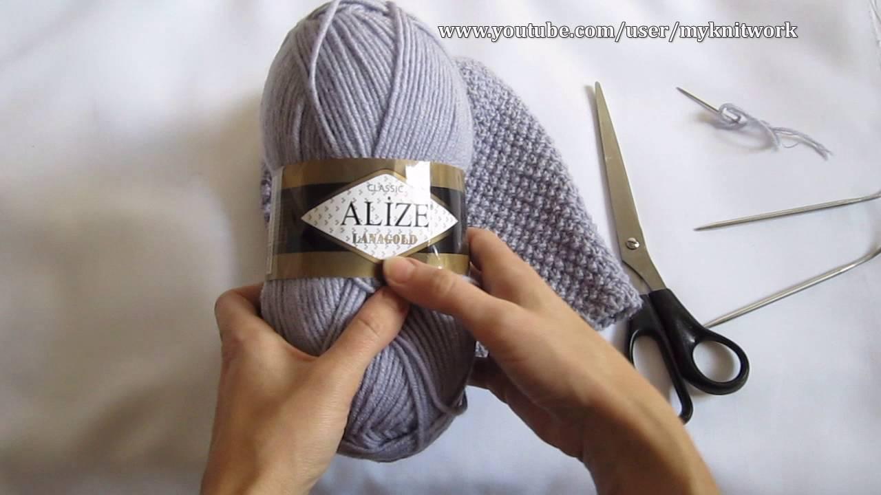 вязание спицами шапка жемчужным узором шапка бини Youtube