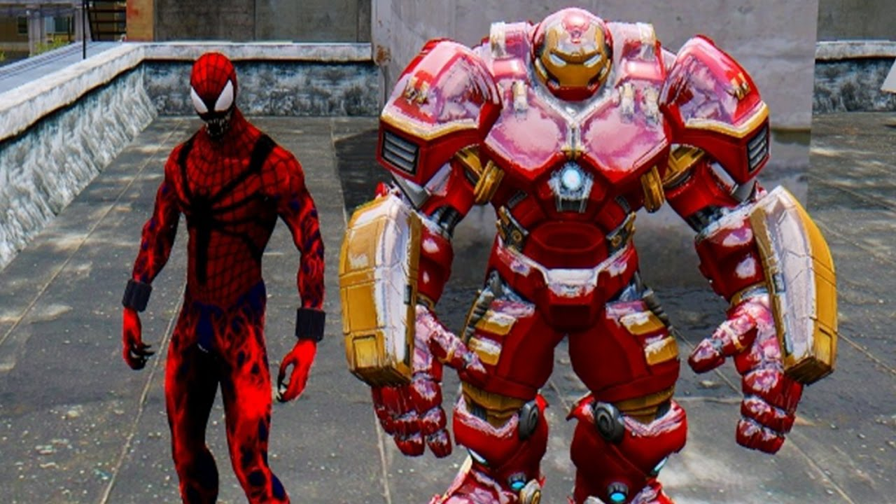 Spider Man Carnage Vs Iron Man Hulkbuster Youtube