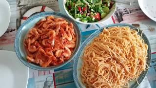 Креветки с макаронами. Рецепт приготовления. Греческая кухня. Греция.