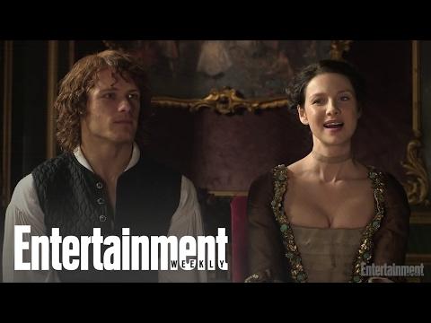 Outlander: Sam Heughan & Caitriona Balfe On Emojis In Character   Cover Shoot