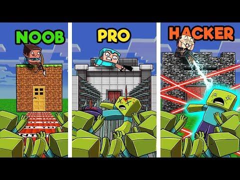 Minecraft - BUILD TO SURVIVE ZOMBIE HORDE! (NOOB vs PRO vs HACKER) thumbnail
