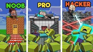 Minecraft - BUILD TO SURVIVE ZOMBIE HORDE! (NOOB vs PRO vs HACKER)