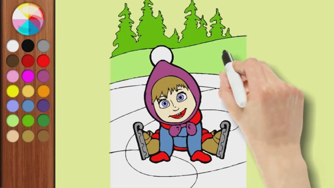 Masha e orso impariamo a colorare disegni dal cartone