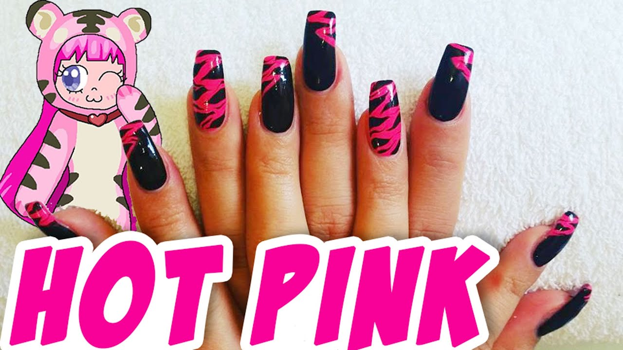 Nail Art #7 - Hot Pink Zebra Nagel design - Gelnägel - YouTube