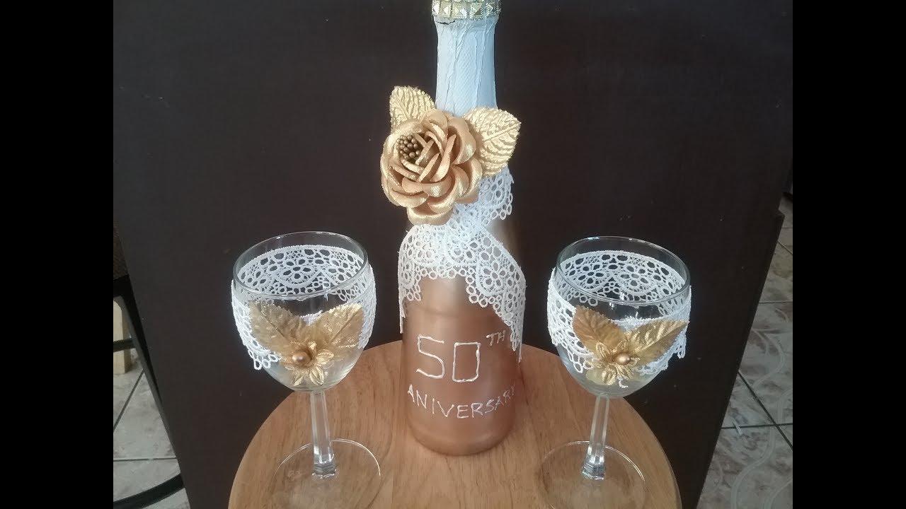 Copas y botella para bodas de oro youtube - Como decorar copas para boda ...