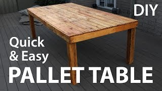A quick and easy outdoor table made from reclaimed pallet wood. All up this took about 4 hours to make and very inexpensive. I