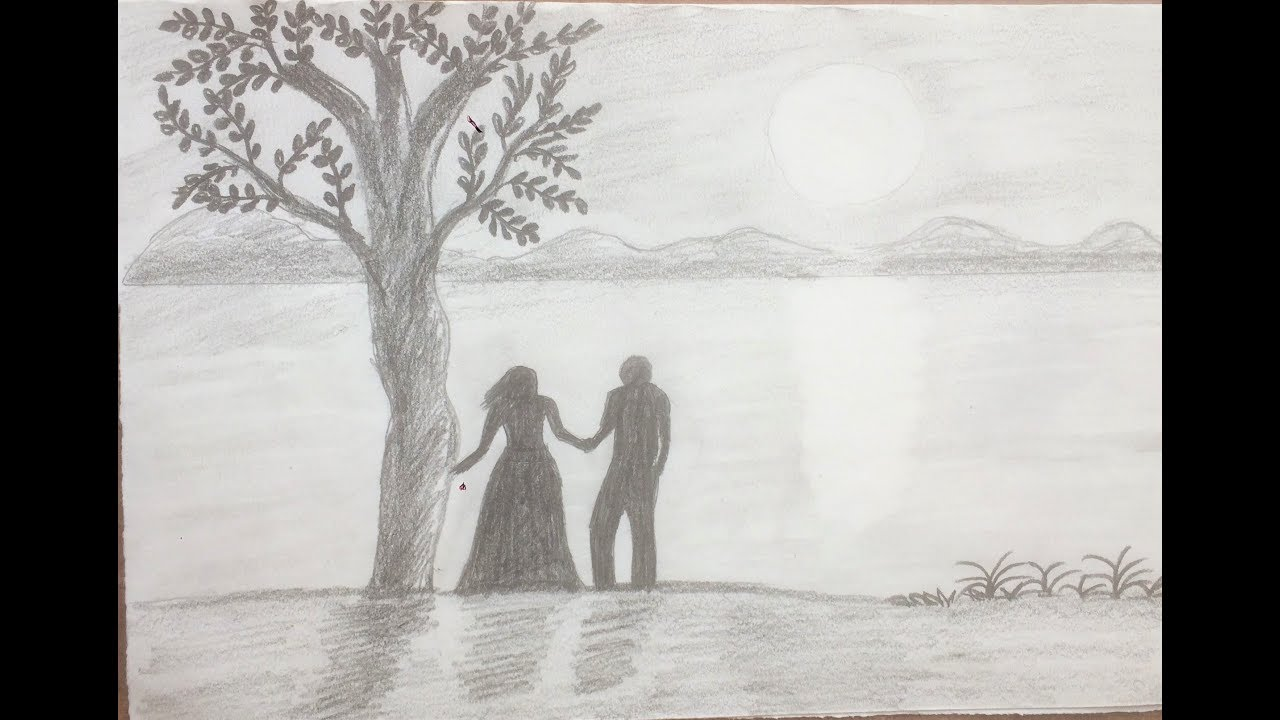 Boy and Girl standing under Tree ! Pencil Drawing ! Riya ...