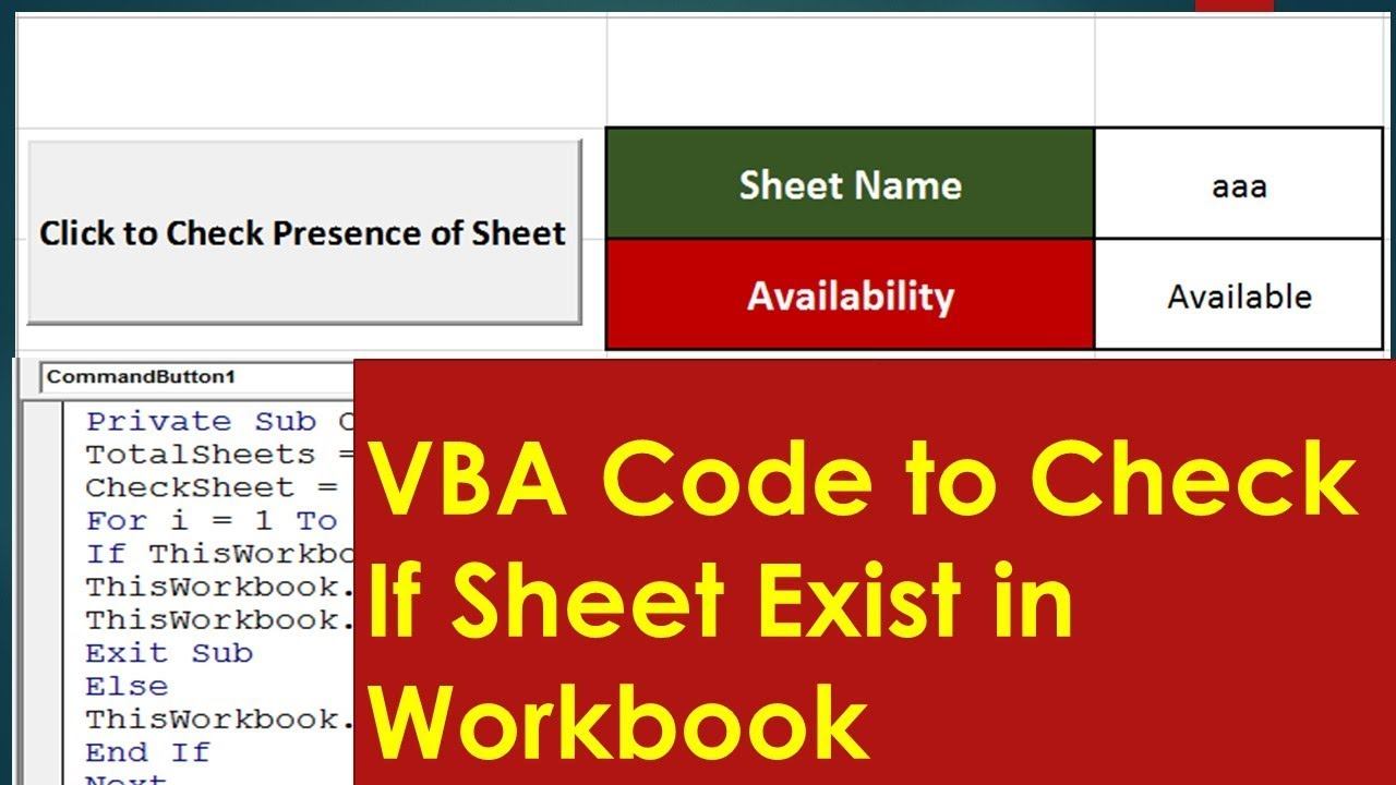 Check if specific sheet exist - Excel VBA Tutorial By ...