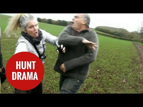 Female hunt saboteur gets in a furious row with angry man
