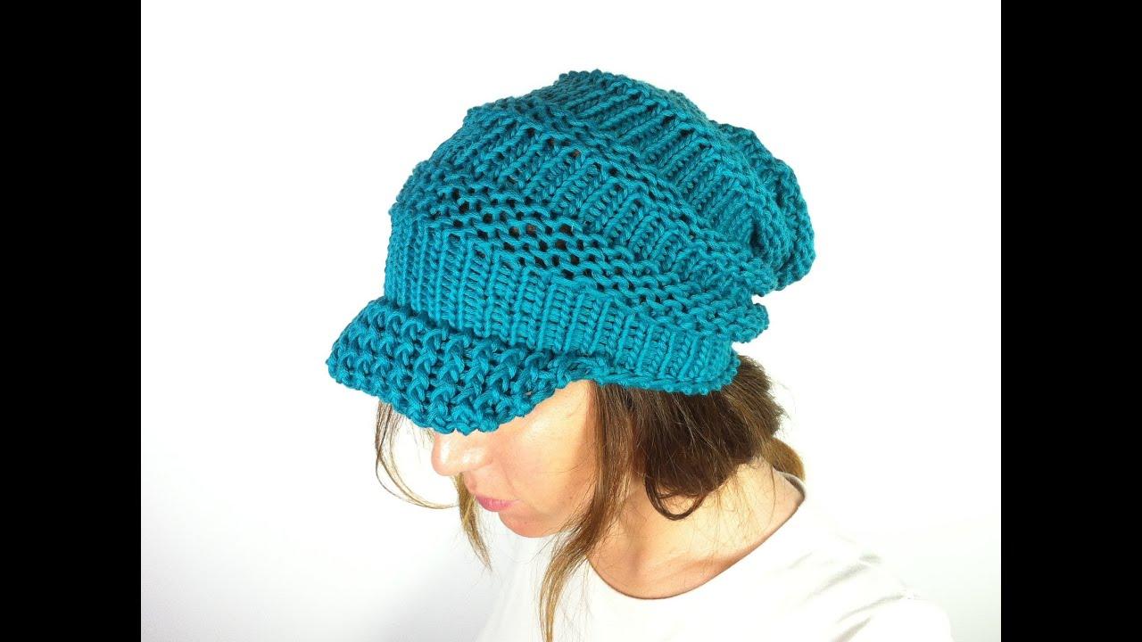 Round Loom Knitting Hat Patterns : Como hacer un gorro caido con visera y telar circular (Tutorial DIY) - YouTube