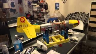 FMS p-51 1400mm v6 with MR RC SOUND 4.1 single TT-25 sound test