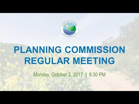 Malibu Planning Commission Meeting October 2, 2017