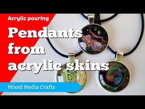 Pendant making with acrylic pouring skins or yupo paper