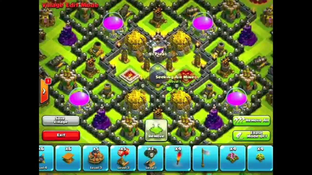 Clash of clans th9 farming base no x bows youtube