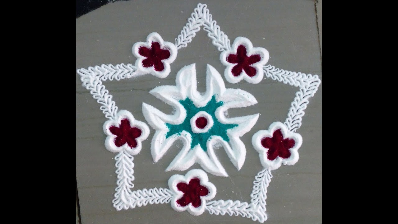 colourful art of rangoli with flowers and leaves youtube