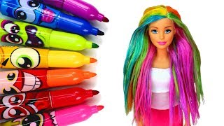 Coloring Barbie's Hair with Markers ️‍🌈 DIY Barbie Rainbow Hair Color Experiment and Washing Out