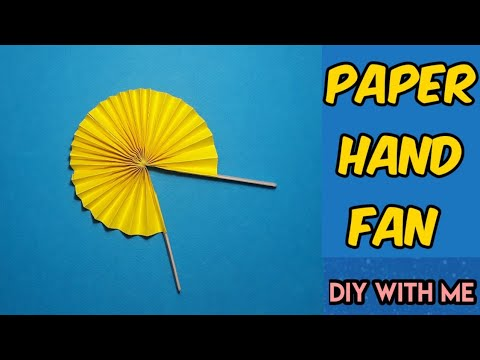 How to make a paper hand fan || easy paper craft || paper fan with ice cream stick