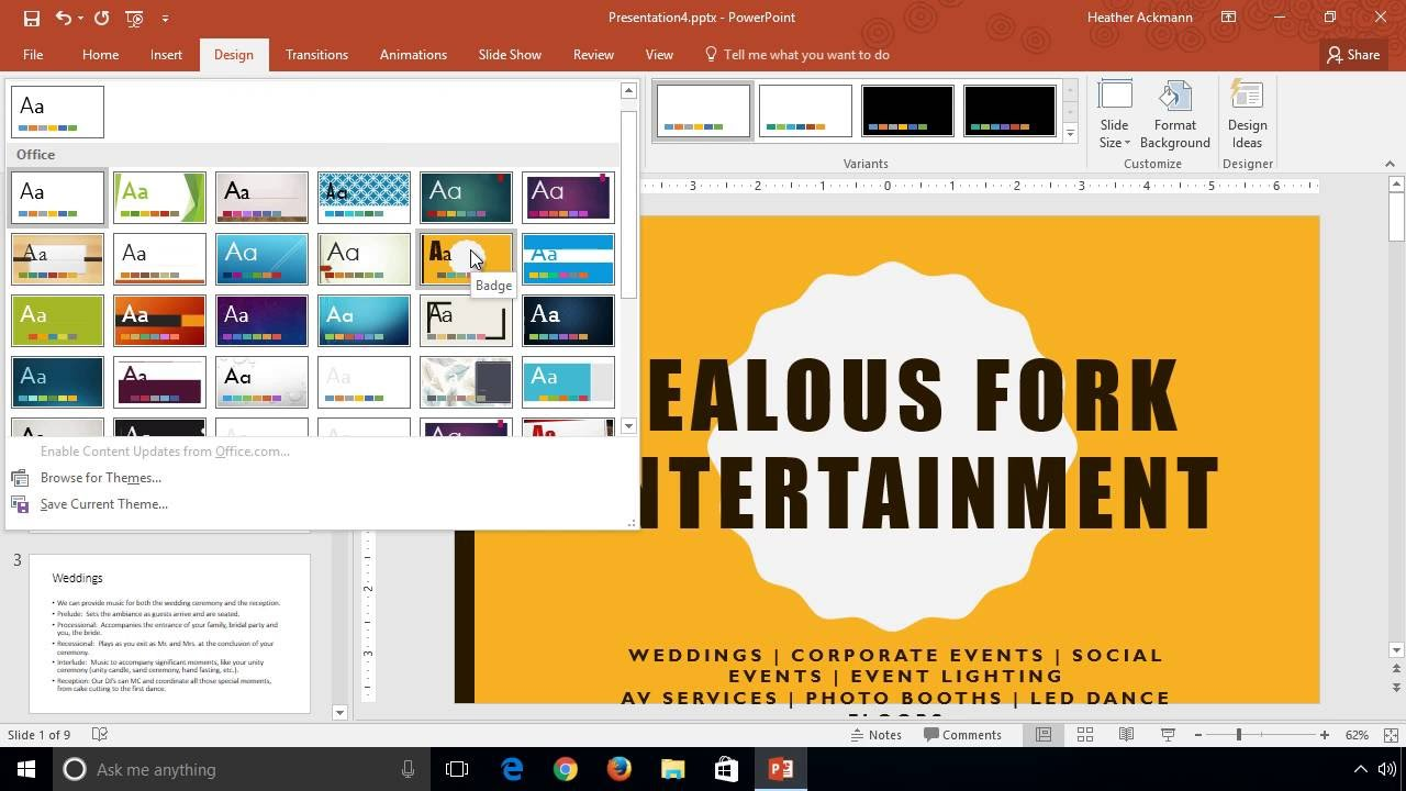 powerpoint 2016 learn how to change themes and variants youtube