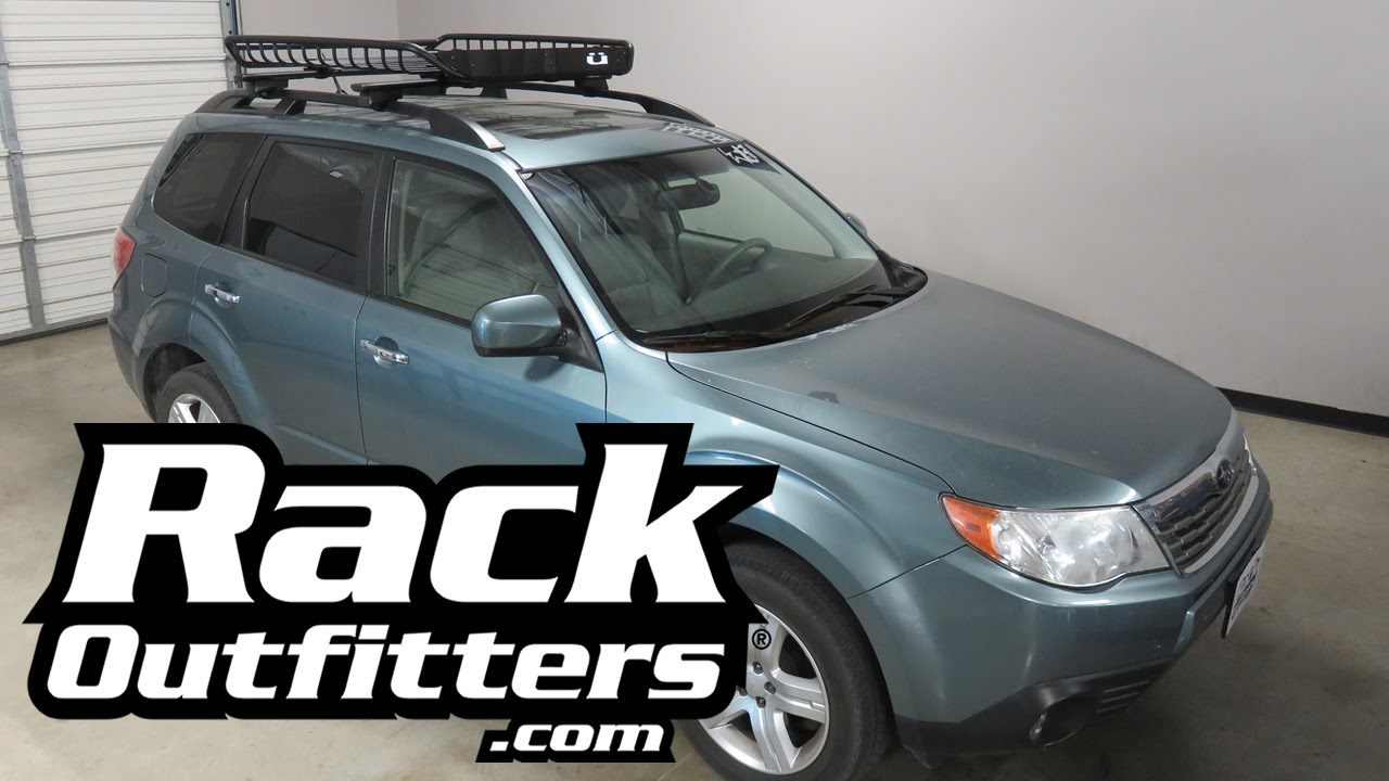 subaru forester with kuat vagabond roof basket with integrated bike carriers
