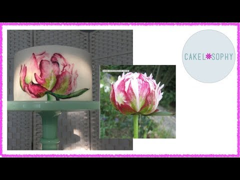 How to Paint on Cake :  Peony Flower Free-Hand