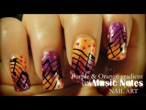 Purple & Orange Gradient with Music Notes nail art