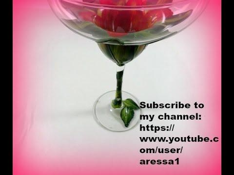 Hibiscus Painted Margarita Glass Part 4