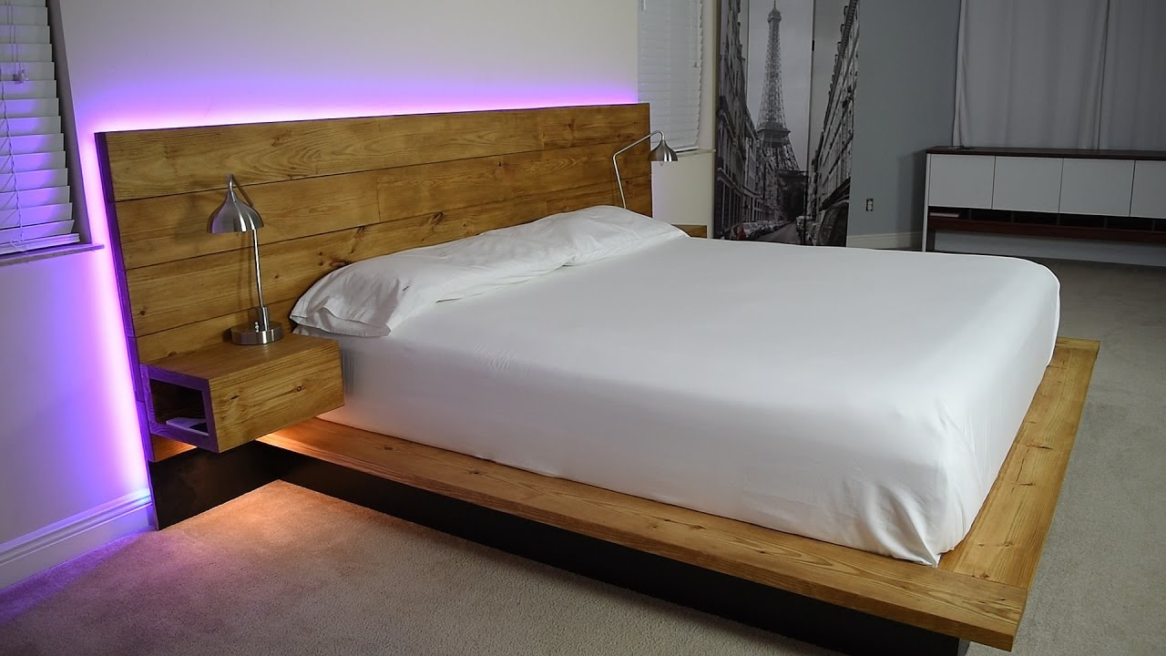 Diy platform bed with floating night stands plans - Cool queen bed frames ...