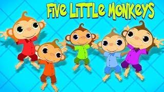 cinq petits singes | dessins animés | Five Little Monkeys | Toddlers Toons Française