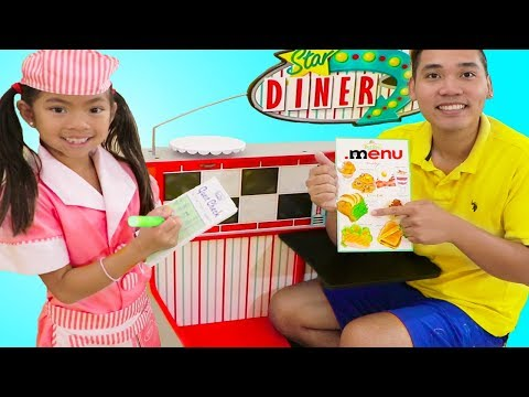Emma Pretend Play as Waitress w/ Diner Restaurant Food Kitchen Kids Toys