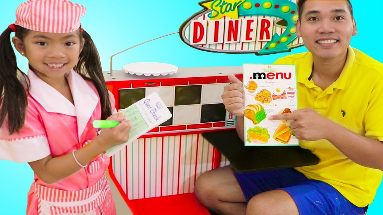 Emma Pretend Play As Waitress W Diner Restaurant Food