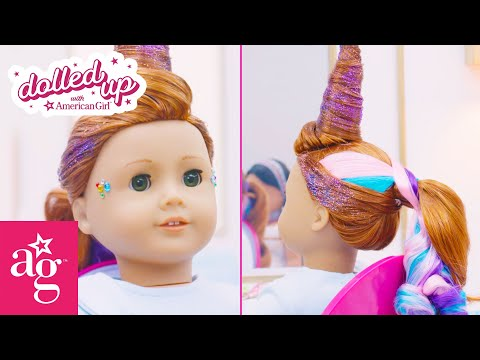 rainbow-unicorn-hair-for-pet-makeover-day-|-dolled-up-with-american-girl-|-@american-girl