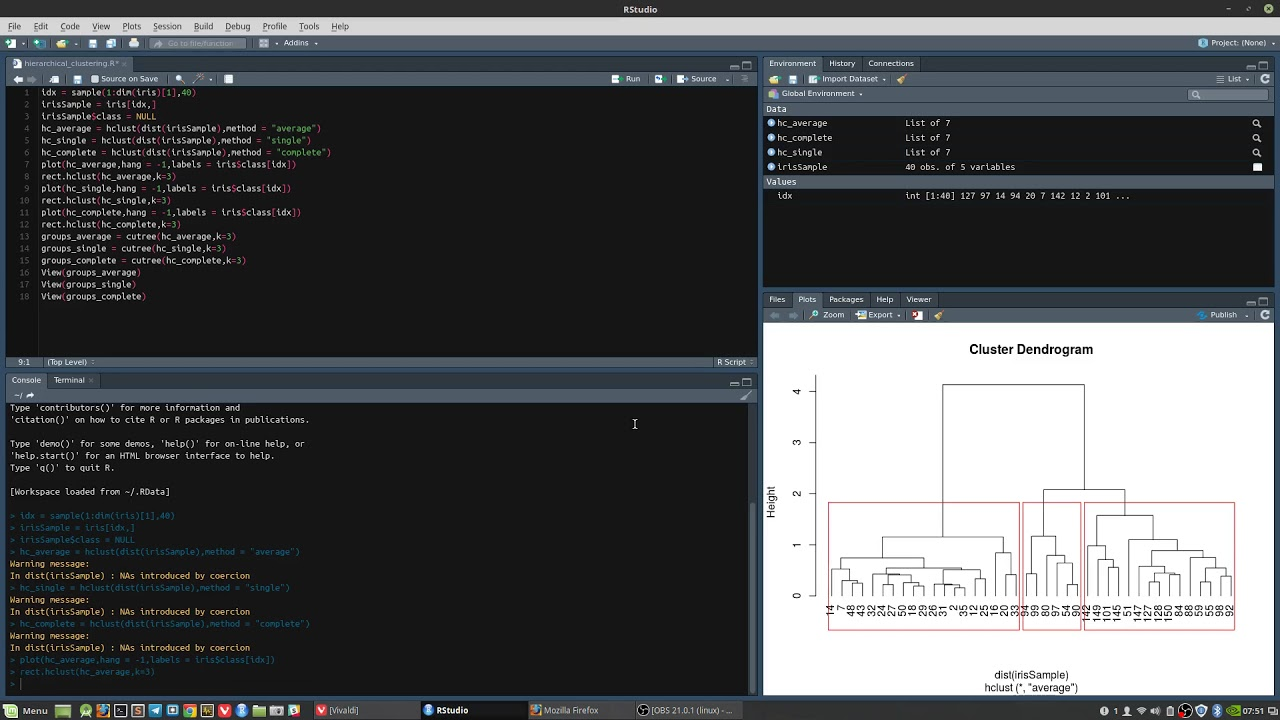 Hierarchical Clustering using HClust - RStudio