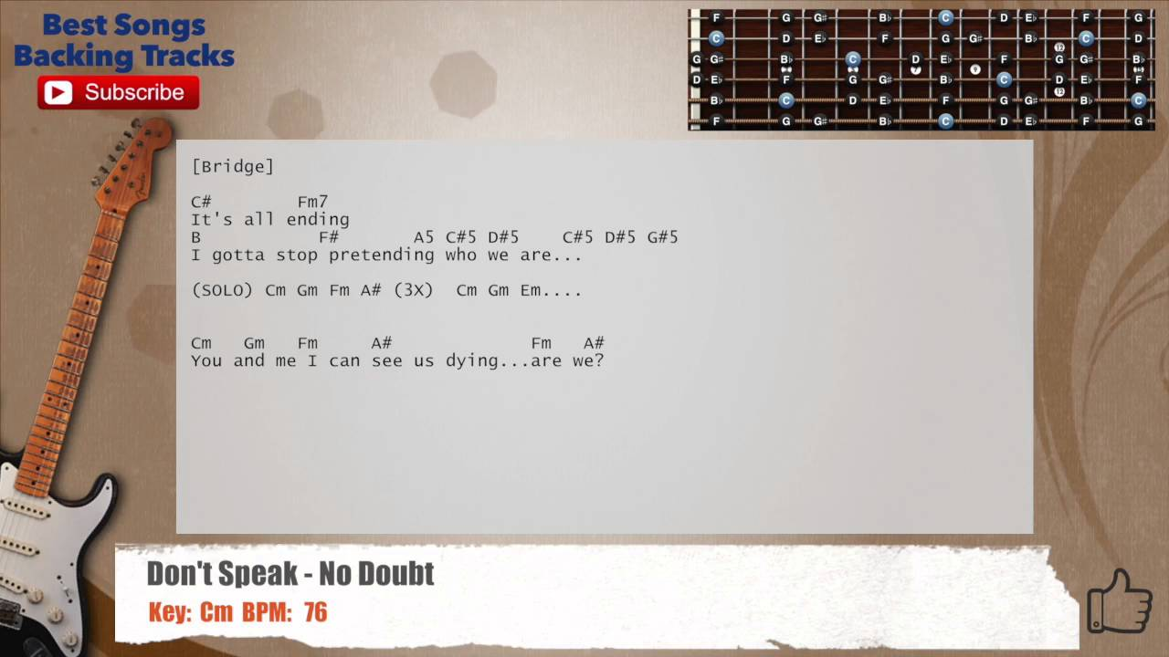 Dont Speak No Doubt Guitar Backing Track With Chords And Lyrics