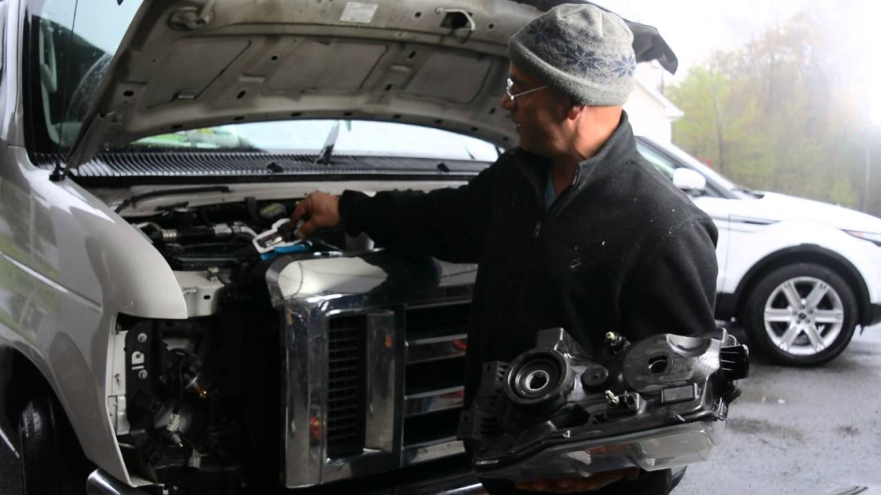 How To Change The Headlight On A 2010 Ford Van  E