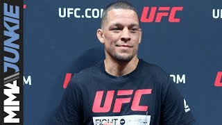 Nate Diaz talks to media after UFC 241 open workout