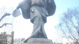 出雲の阿国の銅像Bronze statue of Izumo no okuni.
