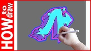 как нарисовать граффити буквы, Л  1