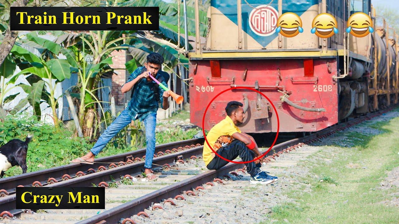 Train Horn Prank 2021   The Best Of Train Horn Prank Reaction on Public (PART 7)   4 Minute Fun